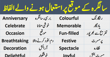 Birthday Vocabulary list with Urdu meanings, English to Urdu vocabulary