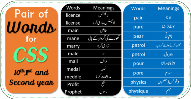 Pair of Words for CSS, 10Th Class, 1st and Second Year with PDF. English vocabulary Pair of words with Urdu meanings and sentences with PDF