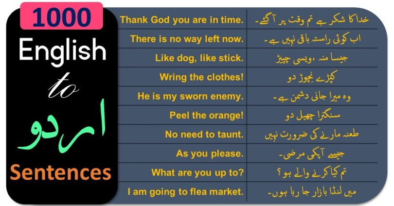 Daily use English Sentences conversation with Urdu and Hindi Translation. Spoken English Sentences with Urdu meanings. English to Urdu Sentences PDF Download.
