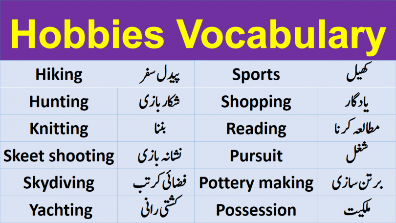 Hobbies Vocabulary with Urdu Meanings help you improve your vocabulary from the very basic to advanced level. The detailed list of vocabulary is effectively helpful for advanced learners especially. Comprehensive list of Words for Hobbies.