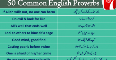 50 English proverbs with Hindi and Urdu