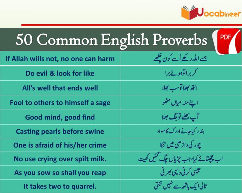 English Proverbs with Hindi / Urdu Translation PDF | Vocabineer