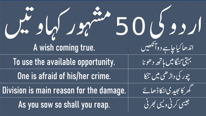 Proverb Meaning in Urdu and Hindi Translation with PDF in English, Learn Common English Proverbs with Urdu meanings which are used in daily life.