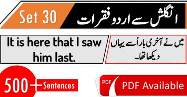 Hindi to English Sentences conversation for Spoken English download PDF lessons. Urdu to English sentences for Everyday conversations.