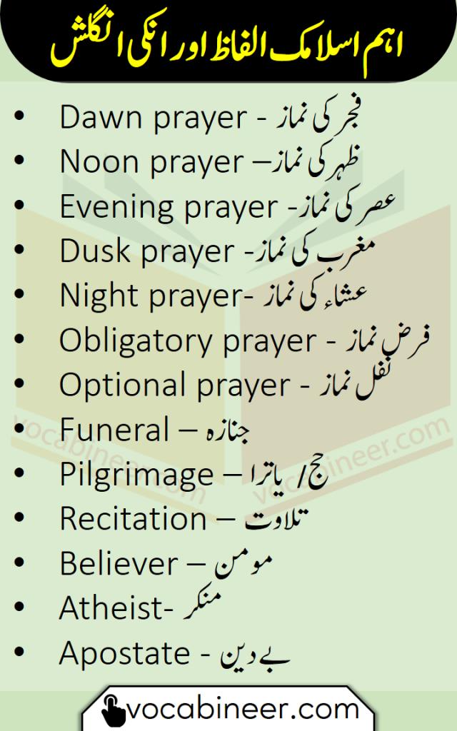 Islamic vocabulary in Urdu