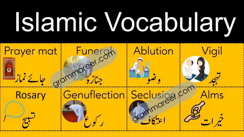 Islamic Vocabulary Words with Meanings in Urdu, islamic words in Urdu, English vocabulary about islam with Urdu meanings, basic islamic vocabulary words in Urdu