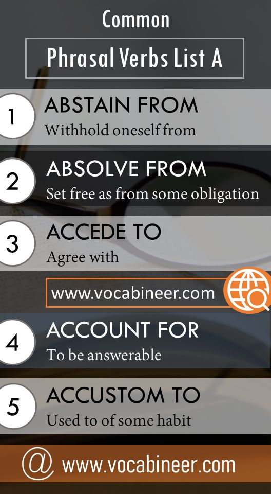 Vocabulary phrasal verbs list A and Flashcard for IELTS, TOEFL, PTE, GRE, CELPIP, UPSC, PPSC, CSS, FPSC, A LEVEL, O LEVEL