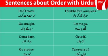 Sentences Of Order With Urdu and Hindi Translation Download PDF, Spoken English course in Urdu