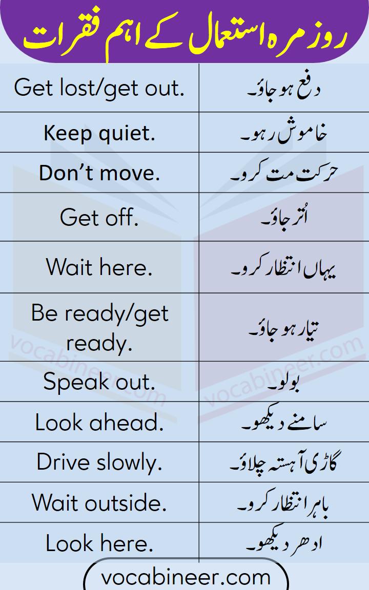 English to Urdu Sentences With PDF