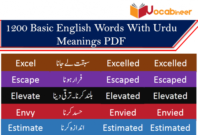 1200 Basic English Words With Urdu Meanings PDF