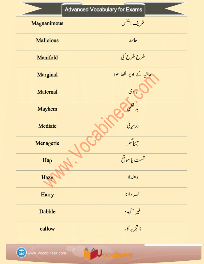 IELTS Vocabulary Words with Urdu Meaning and PDF