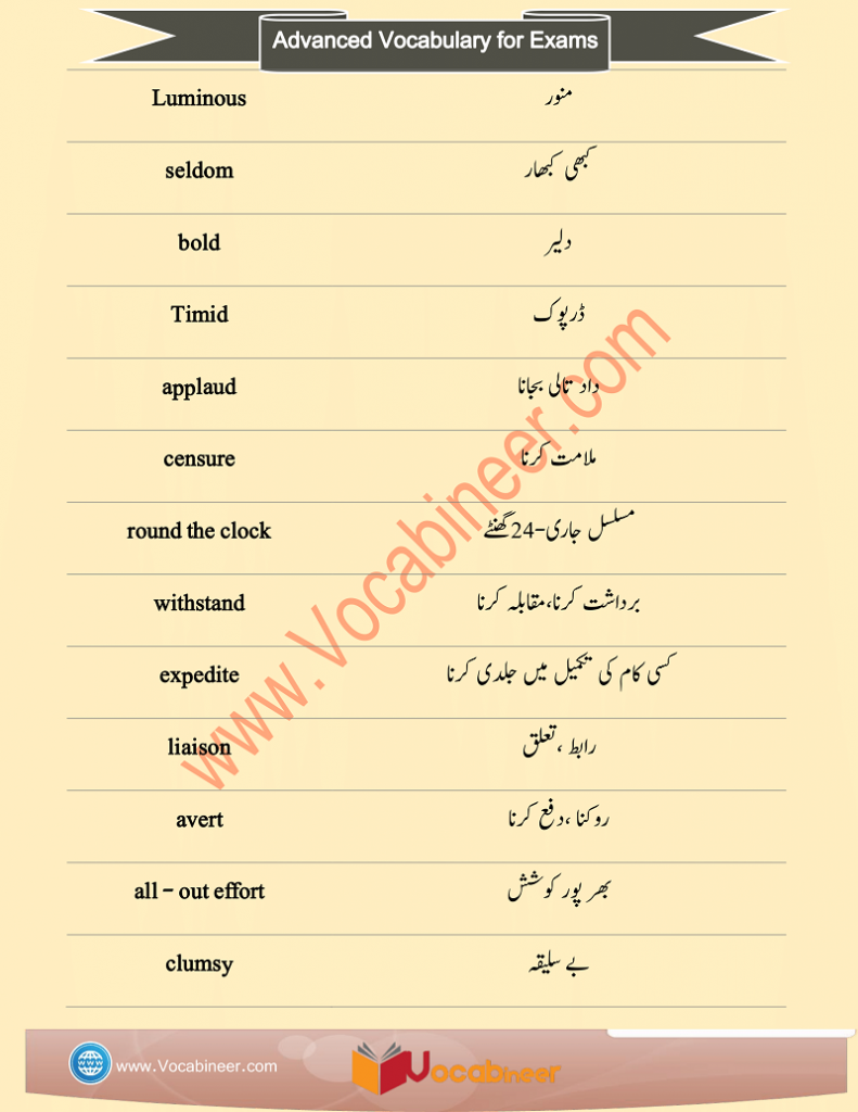 CSS Vocabulary Words with Urdu Meaning and PDF