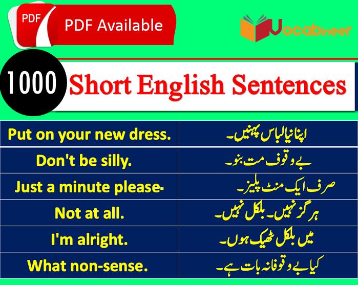 Basic English Sentences in Hindi and Urdu Translation PDF