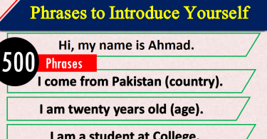 20 Phrases to Introduce Yourself with Urdu Translation PDF, How to Introduce yourself in English, Introduction phrases, 20 ways to introduce yourself, How to introduce in interview, job introduction