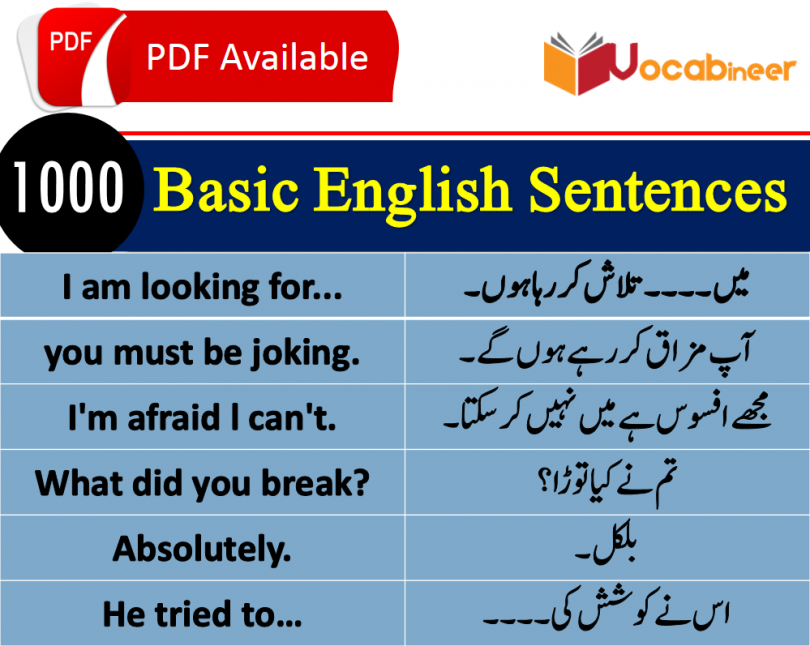 Basic English lessons in Hindi, Basic Sentences in Hindi, Hindi Sentences PDF, Urdu Sentences PDF, Short Sentences with Urdu, Short Sentences with Hindi