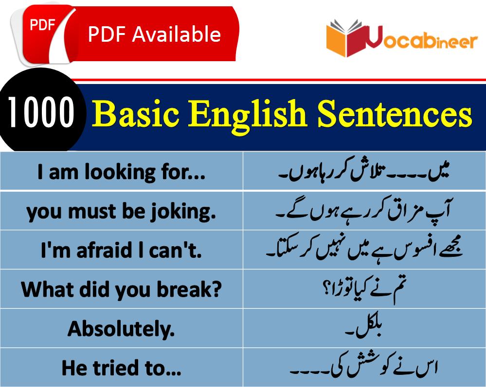 1500 Daily Life Sentences with Urdu Translation Download PDF