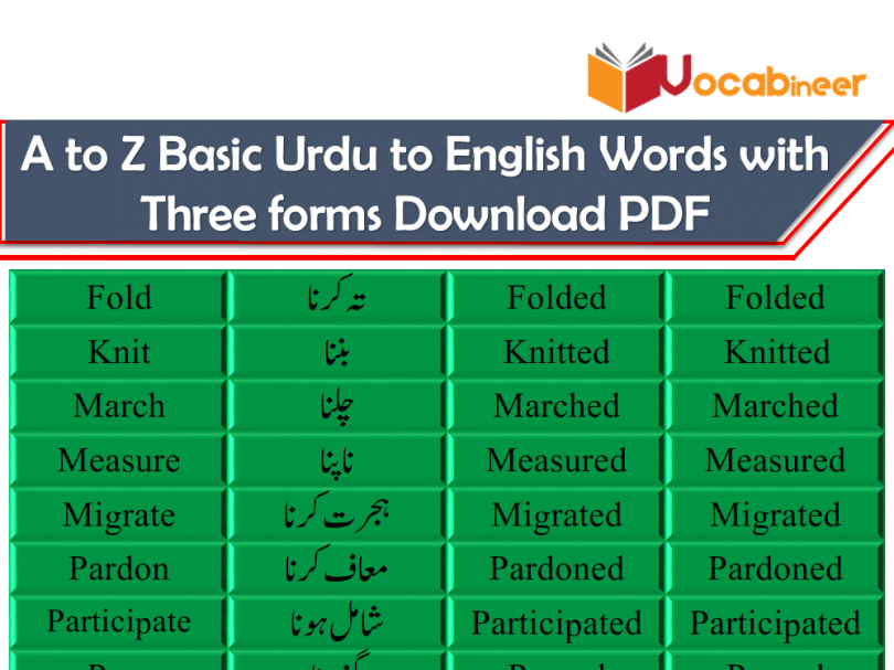 A to Z Basic Urdu to English Words with Three forms PDF SET 9