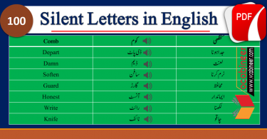Words with Silent Letters in Urdu, Silent Letters in Words with Urdu Meanings contains 100 words of daily use in English with silent letters. Words with silent letters, Silent letters in English, Pronunciation Lesson in Urdu