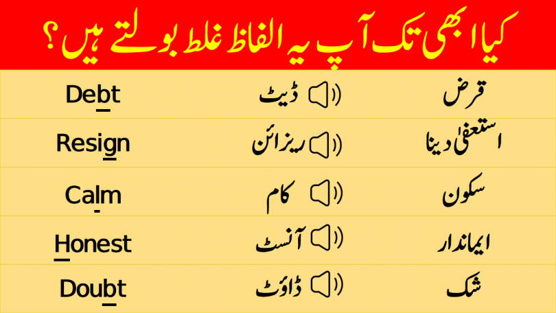 Silent Letters in English with Urdu & Hindi Meanings Words with Silent Letters in Urdu Meanings Silent Letters in Words with Urdu Meanings contains 100 words of daily use in English with silent letters. Words with silent letters, Silent letters in English, Pronunciation Lesson in Urdu