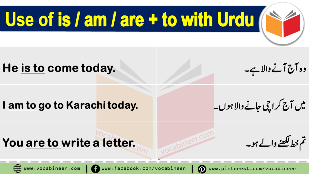 Learn How to Use IS TO, AM TO, ARE TO, HAS TO, HAVE TO, HAD TO, WILL HAVE TO, SHALL HAVE TO with PDF and Video Lesson in Urdu & Hindi Translation. Learn English Grammar in Urdu, Spoken English Course in Urdu & Hindi