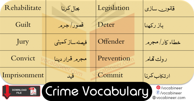 Crime Vocabulary List with Urdu and Hindi Meanings