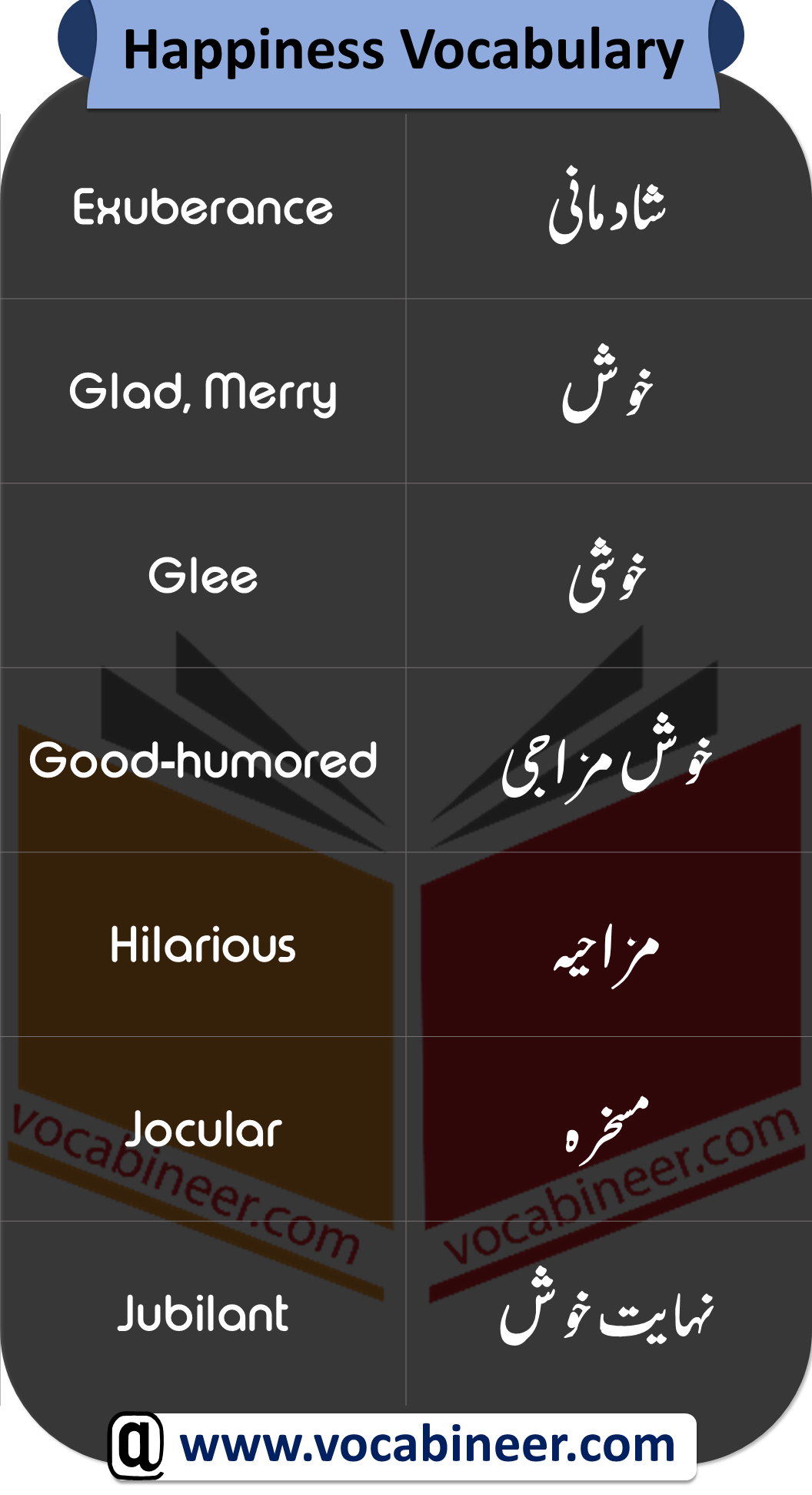 Vocabulary in Urdu about happiness