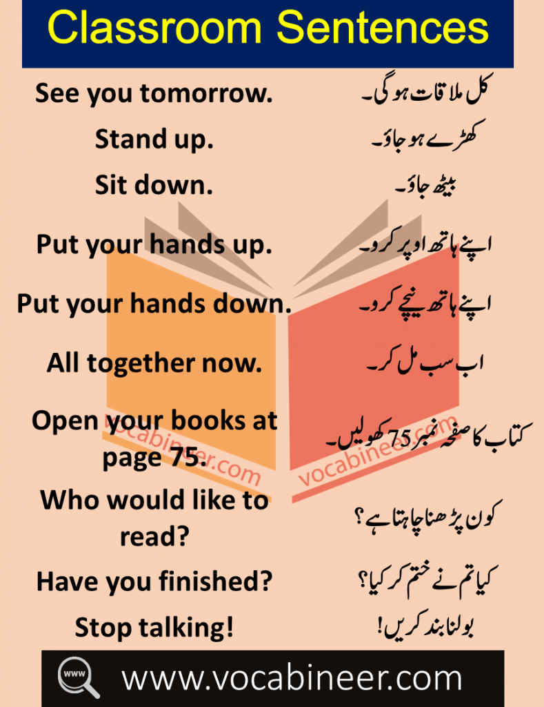 Daily Use Sentences in Classroom with Urdu Translation Learn Common Classroom related vocabulary and sentences with Urdu Translation for improving your English Speaking.