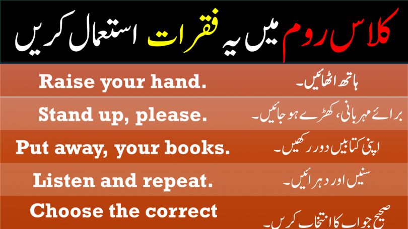 Daily Use Sentences in Classroom with Urdu Translation
