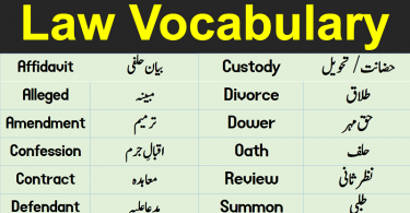Law Terms & Vocabulary with Urdu / Hindi Meanings learn important law vocabulary words and terms with Urdu & Hindi meanings list of legal terminology with their meanings.