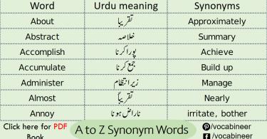 A to Z List of Synonyms Common Words in Urdu learn common synonyms words in English for exams with their Urdu meanings