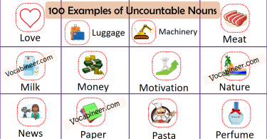 100 Examples of Common Uncountable Nouns learn list of useful Uncountable Nouns examples in English using pictures