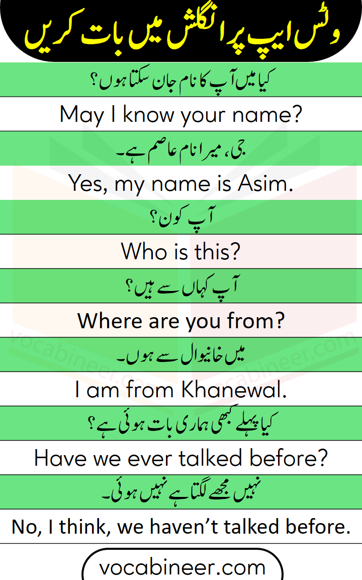 English sentences for chatting on whatsapp with Urdu and Hindi