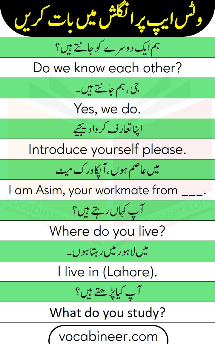 English learning through Urdu with sentences