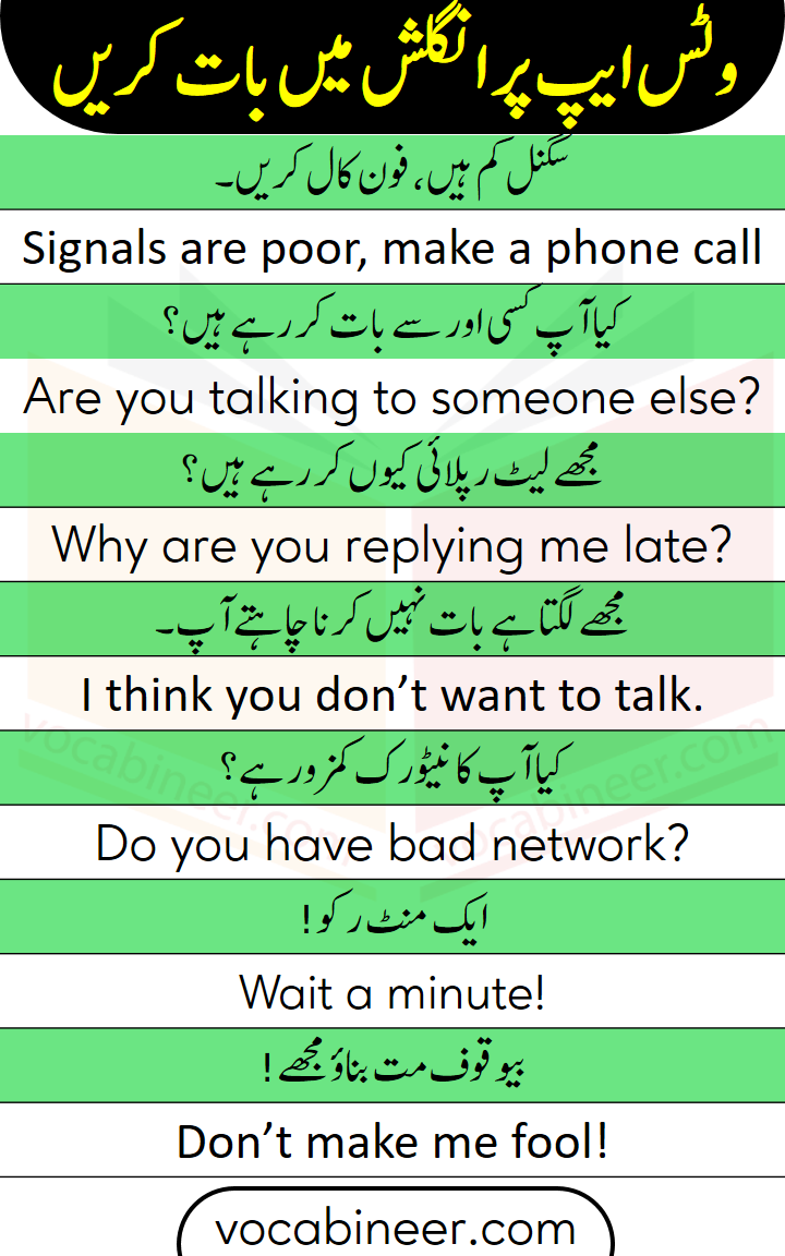 Speak English through Urdu