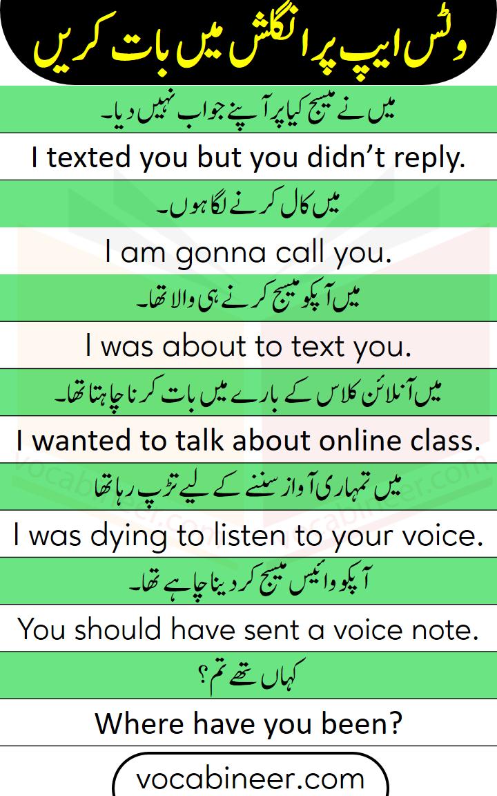 English to Urdu sentences for phone conversation in Urdu / Hindi