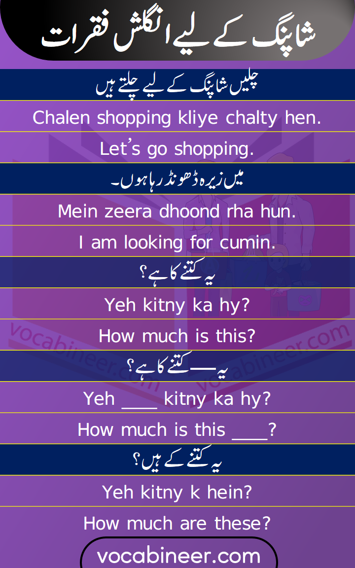 Shopping Sentences with Urdu and Hindi translation for pinterest