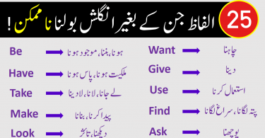 Learn English Through Urdu with 25 Daily Use Words. English to Urdu vocabulary words PDF, English words with Urdu meanings